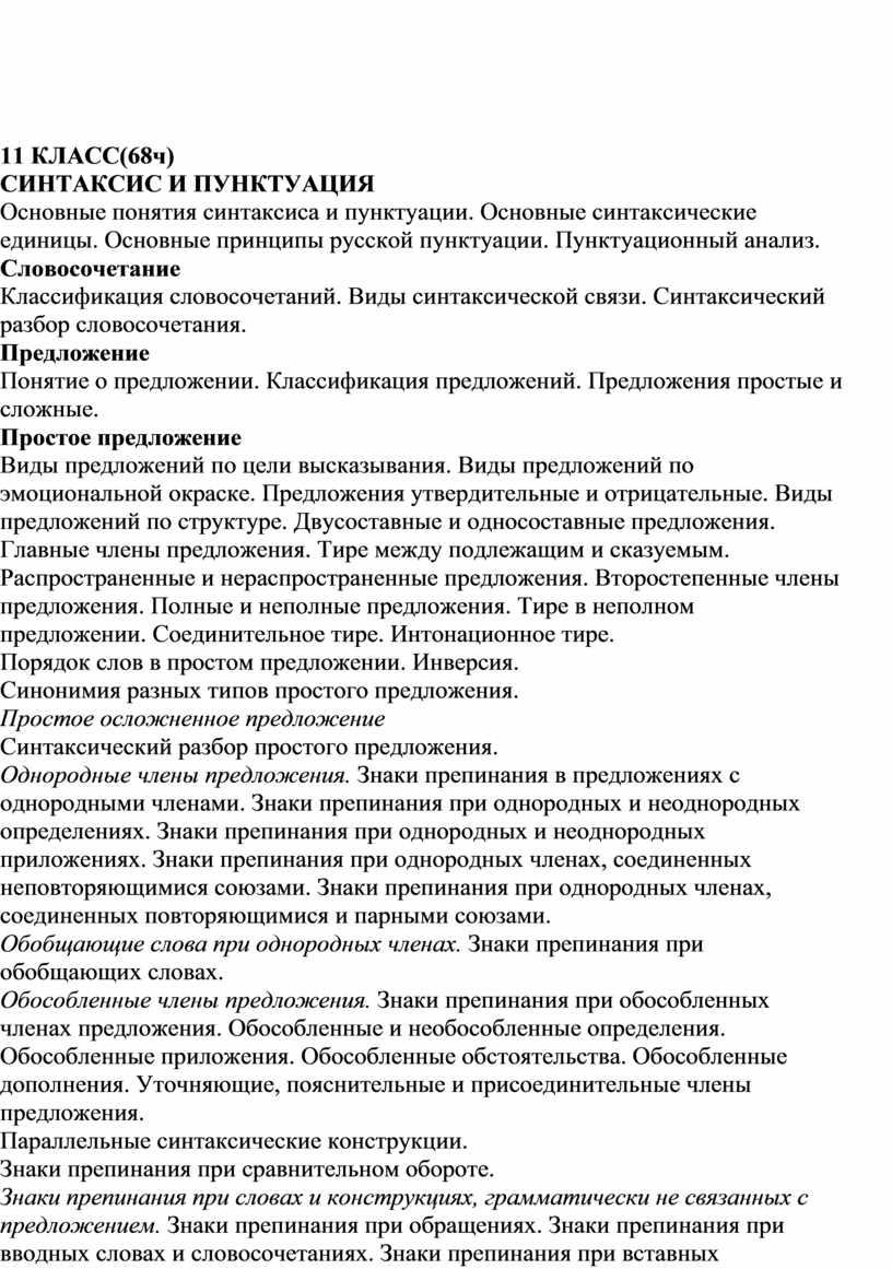 КЛАСС(68ч) СИНТАКСИС И ПУНКТУАЦИЯ