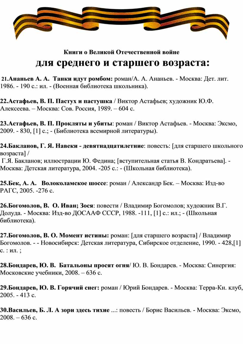 Книги о Великой Отечественной войне для среднего и старшего возраста: 21