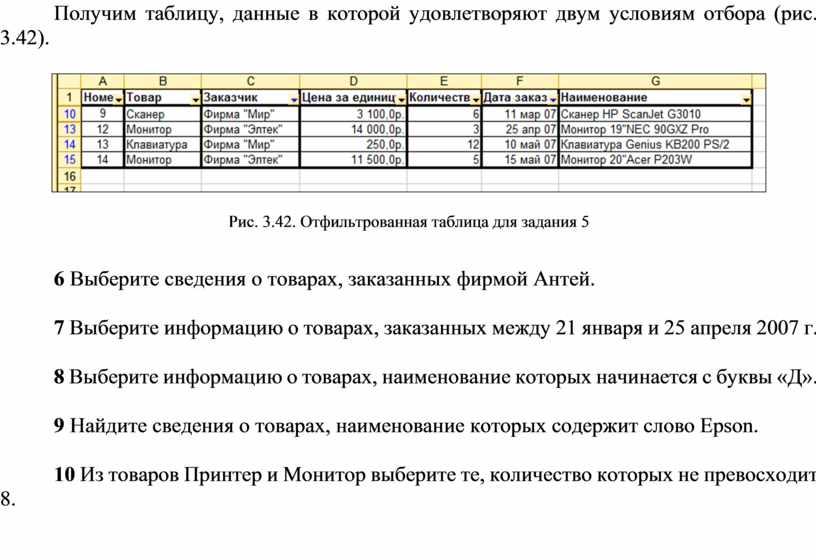 Получим таблицу, данные в которой удовлетворяют двум условиям отбора (рис