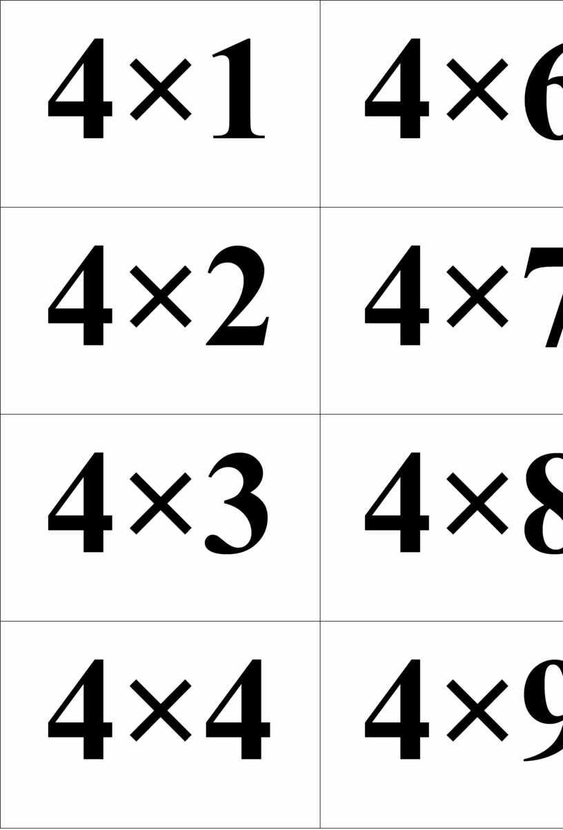 4×1 4×6 4×2 4×7 4×3 4×8 4×4 4×9