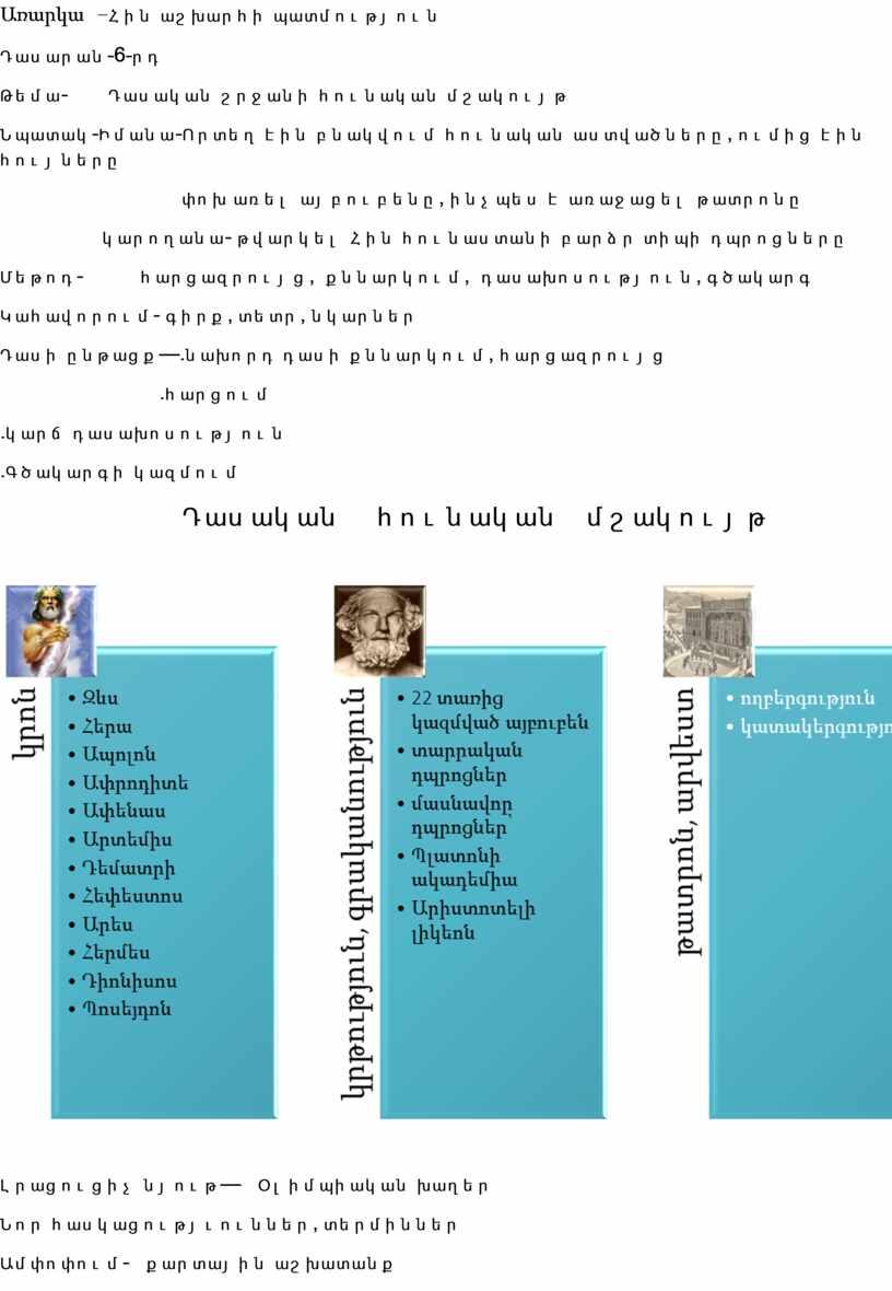 Առարկա – Հին աշխարհի պատմություն Դասարան -6- րդ Թեմա - Դասական շրջանի հունական մշակույթ Նպատակ - Իմանա - Որտեղ էին բնակվում հունական աստվածները , ումից…
