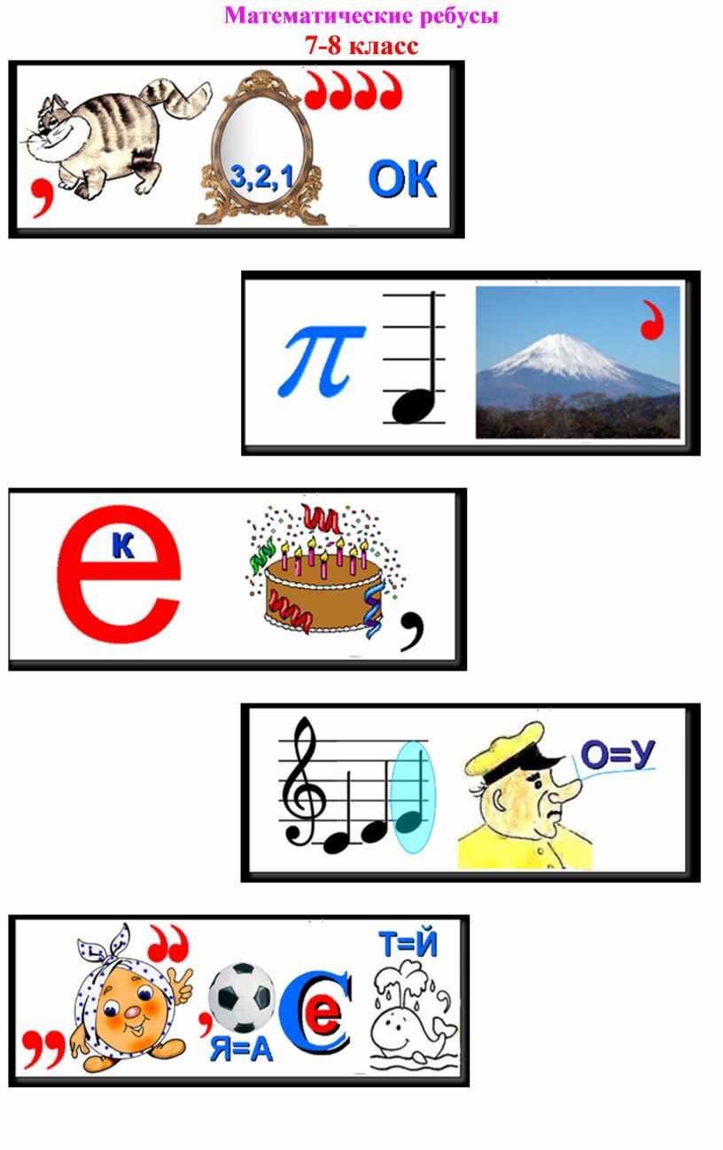 Математические ребусы 7-8 класс