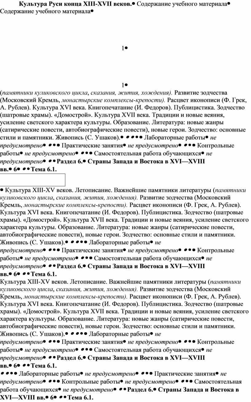 Культура Руси конца XIII-XVII веков