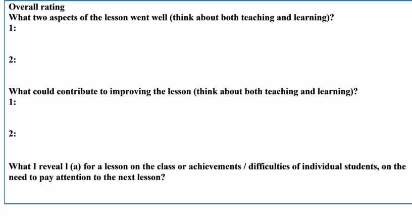 Overall rating What two aspects of the lesson went well (think about both teaching and learning)? 1 : 2: