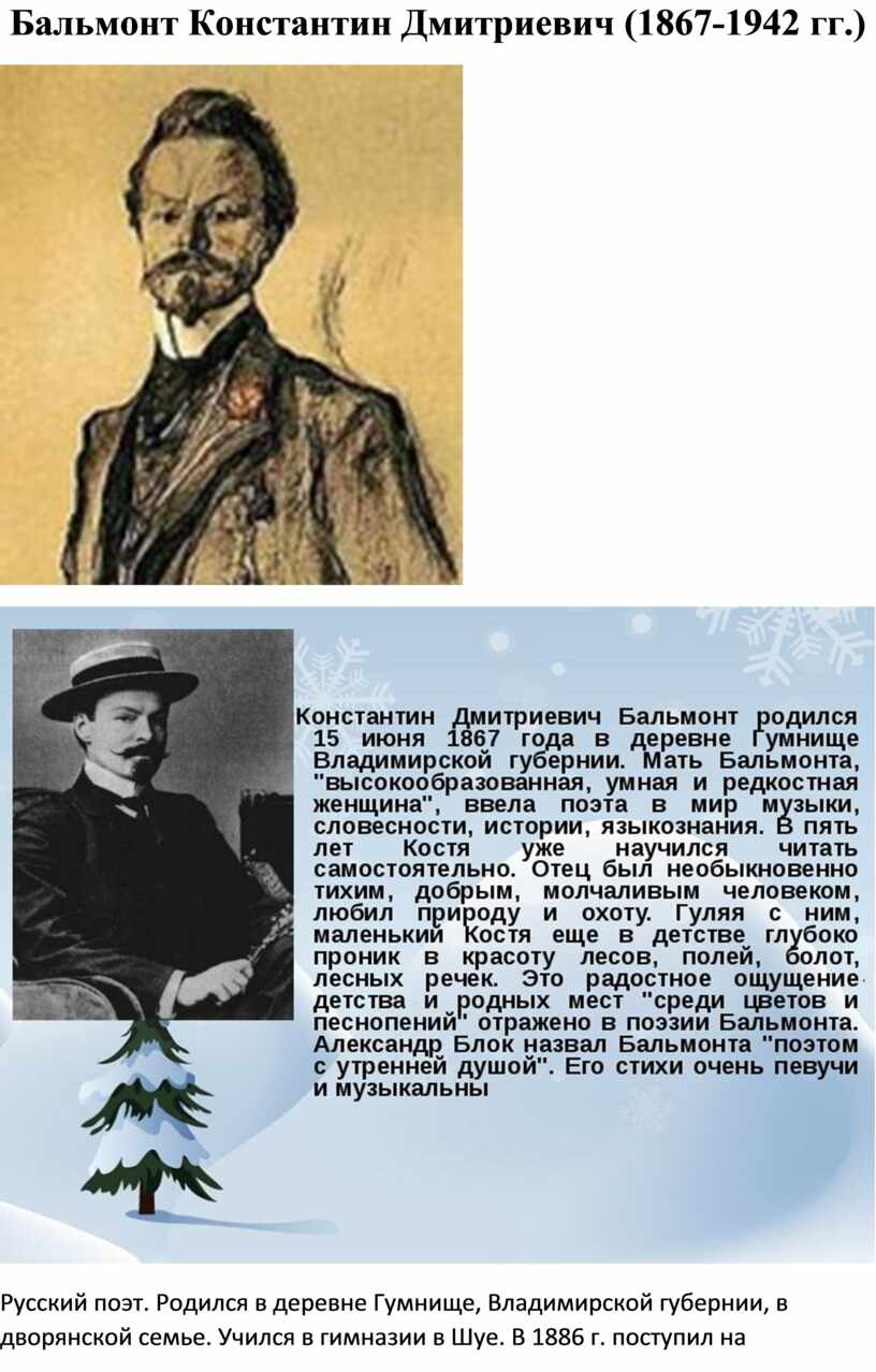 Бальмонт Константин Дмитриевич (1867-1942 гг