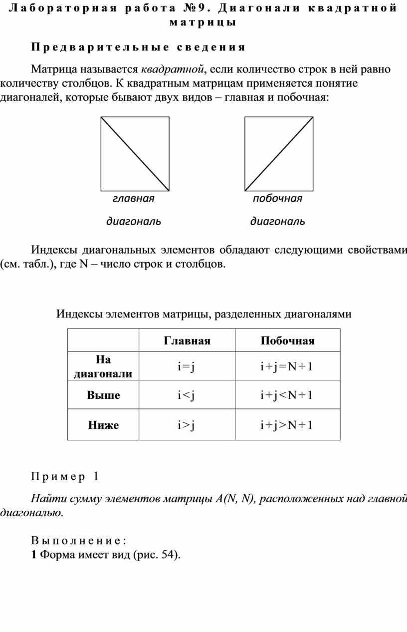 Лабораторная работа №9. Диагонали квадратной матрицы