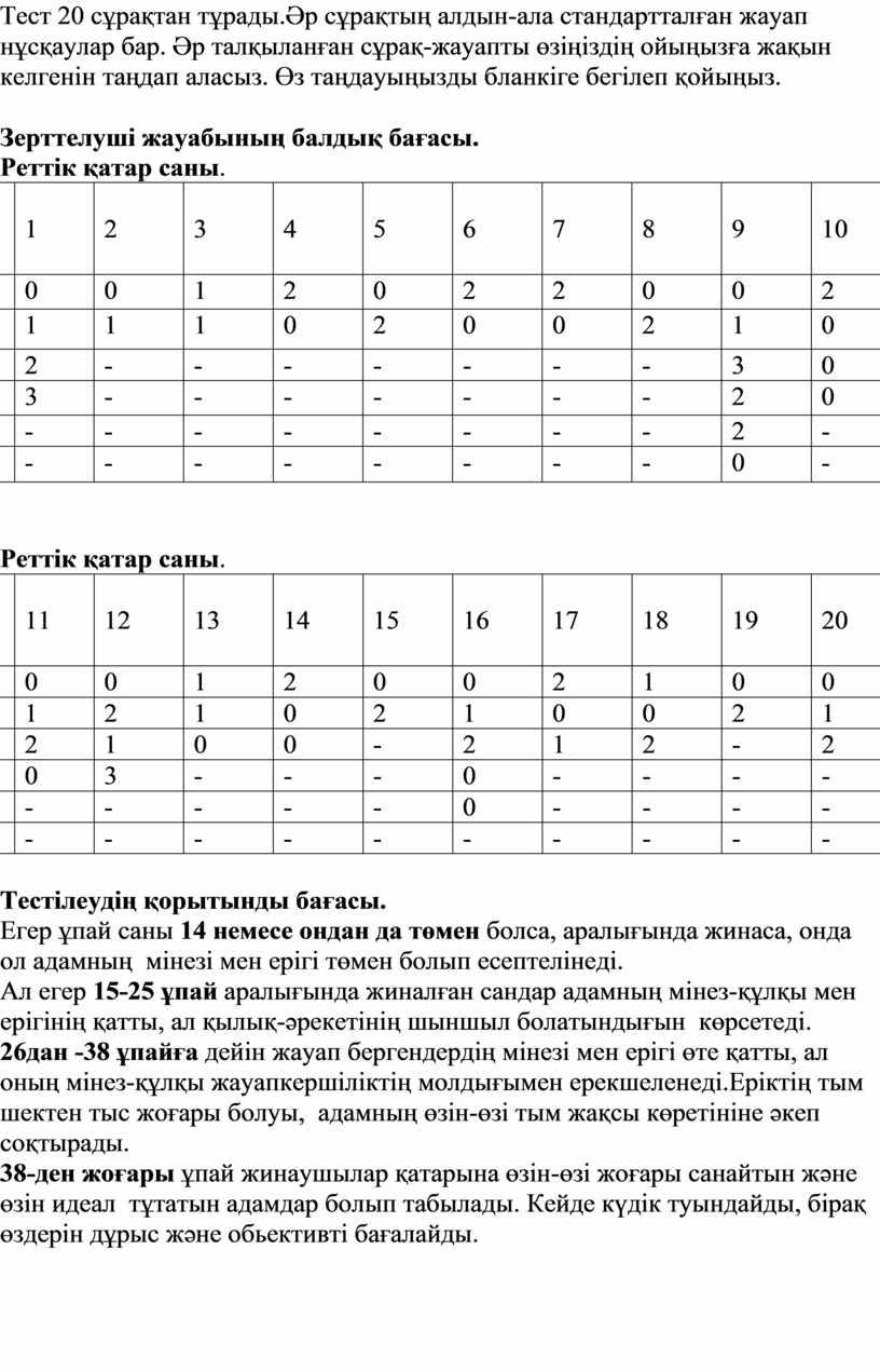 Тест 20 сұрақтан тұрады.Әр сұрақтың алдын-ала стандартталған жауап нұсқаулар бар