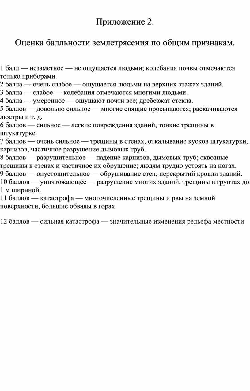 Приложение 2. Оценка балльности землетрясения по общим признакам