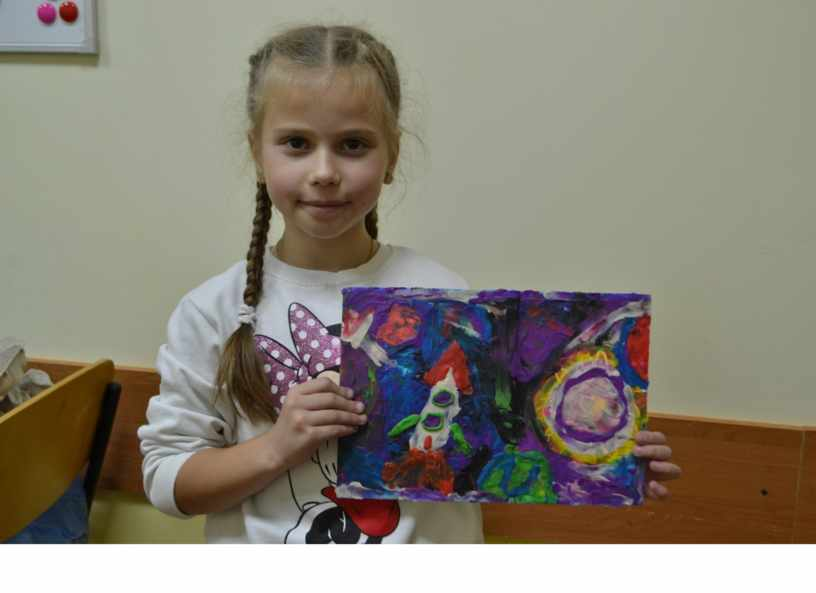 «Космос глазами детей». Творческие  работы детей. Пластилинография.