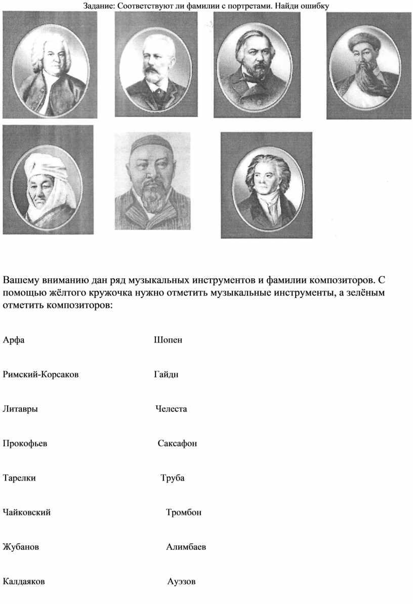Задание: Соответствуют ли фамилии с портретами