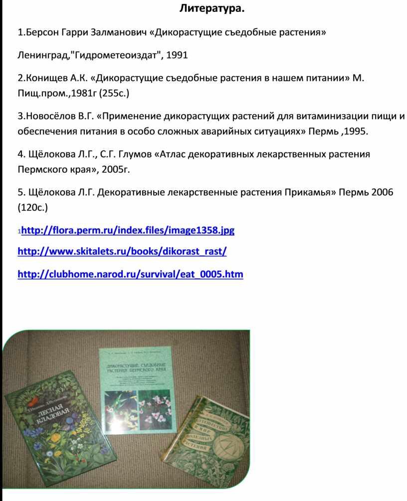 Литература. 1.Берсон Гарри Залманович «Дикорастущие съедобные растения»