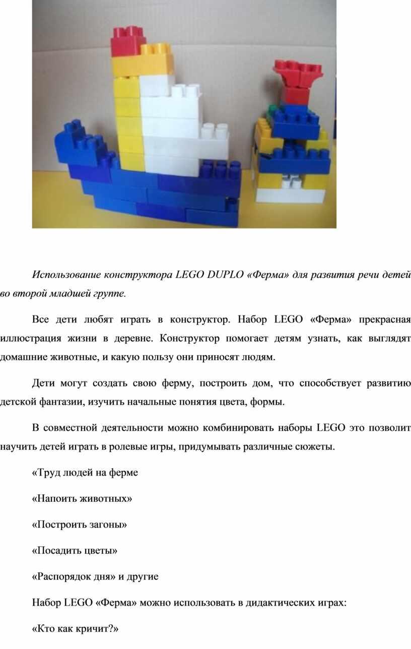 Использование конструктора LEGO