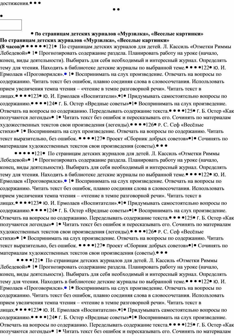 По страницам детских журналов «Мурзилка», «Веселые картинки» (8 часов) 121
