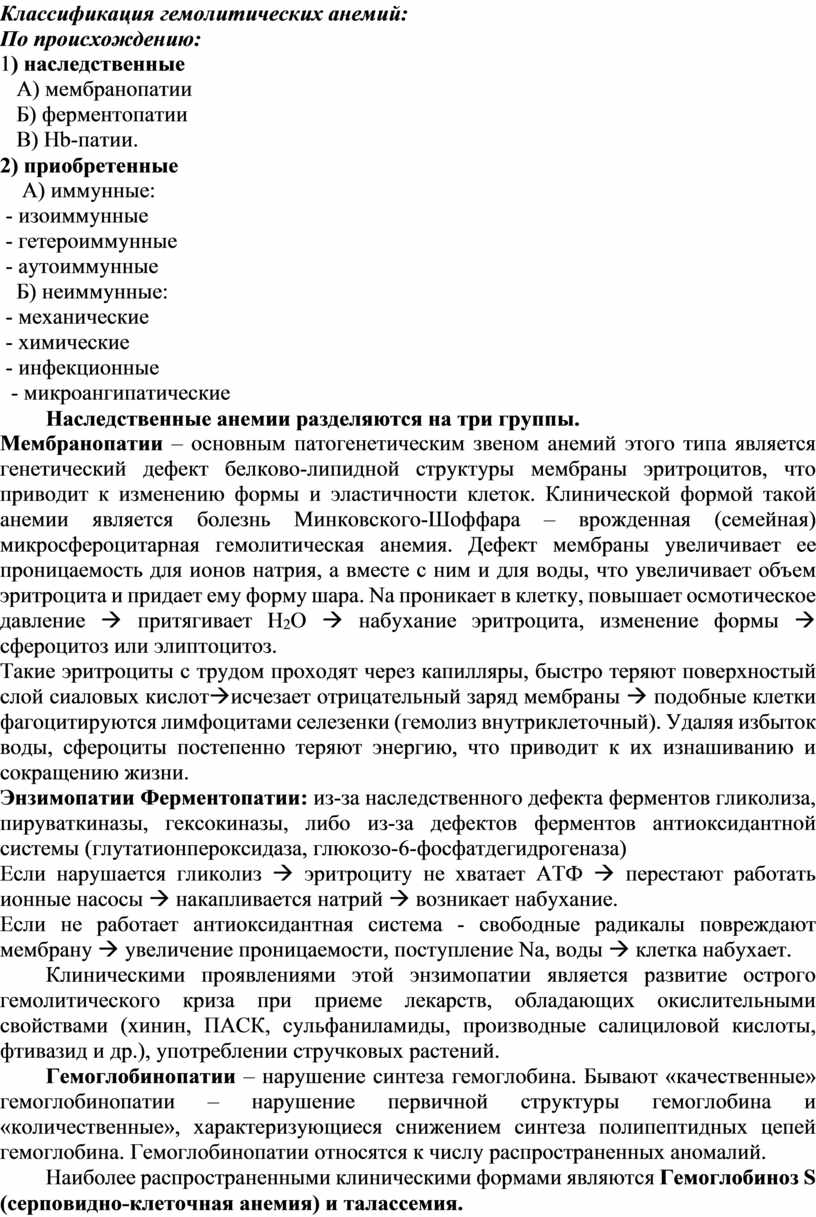 Классификация гемолитических анемий: