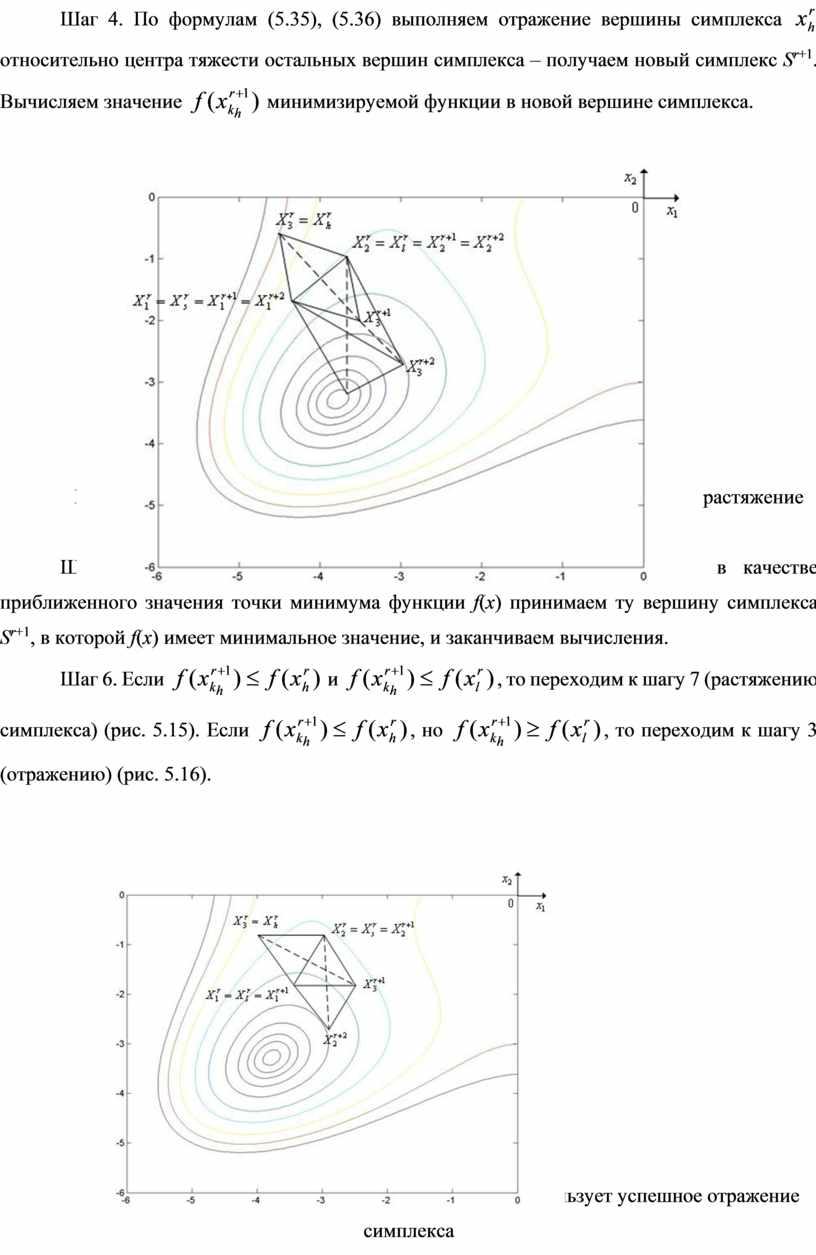 Шаг 4. По формулам (5.35), (5.36) выполняем отражение вершины симплекса относительно центра тяжести остальных вершин симплекса – получаем новый симплекс