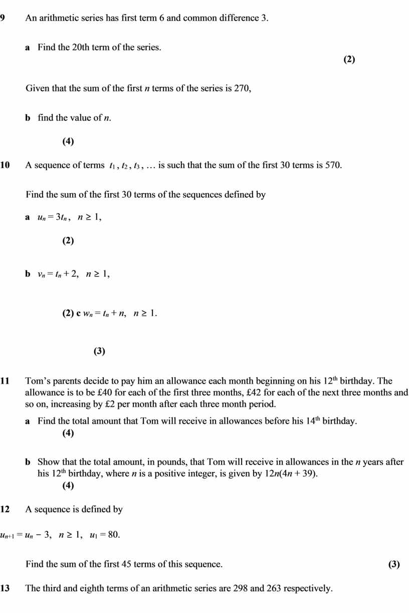 An arithmetic series has first term 6 and common difference 3