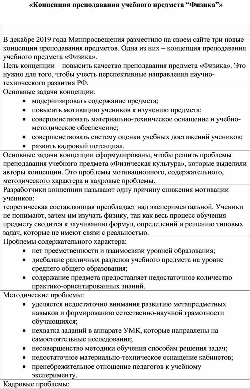 """Концепция преподавания учебного предмета """"Физика""""»"""