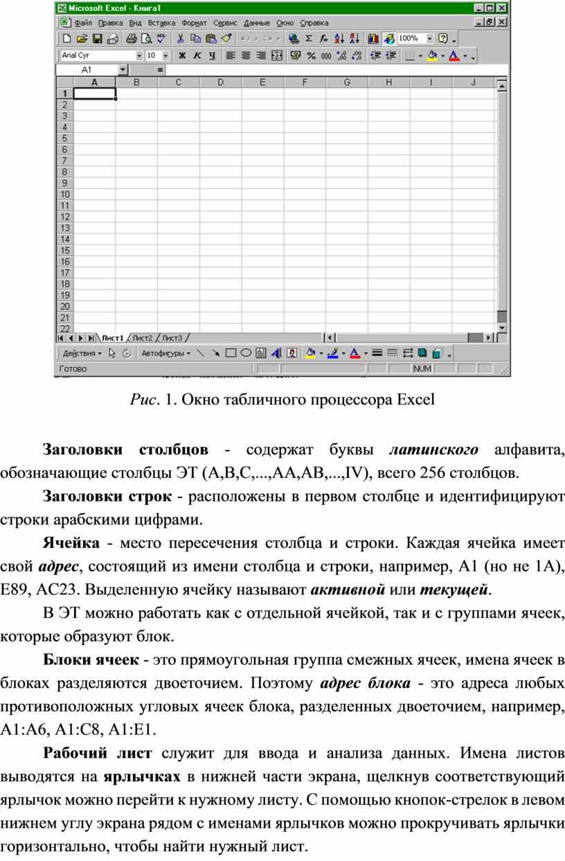 Рис . 7 . Окно табличного процессора