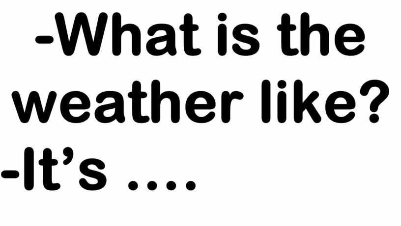What is the weather like? -It's …