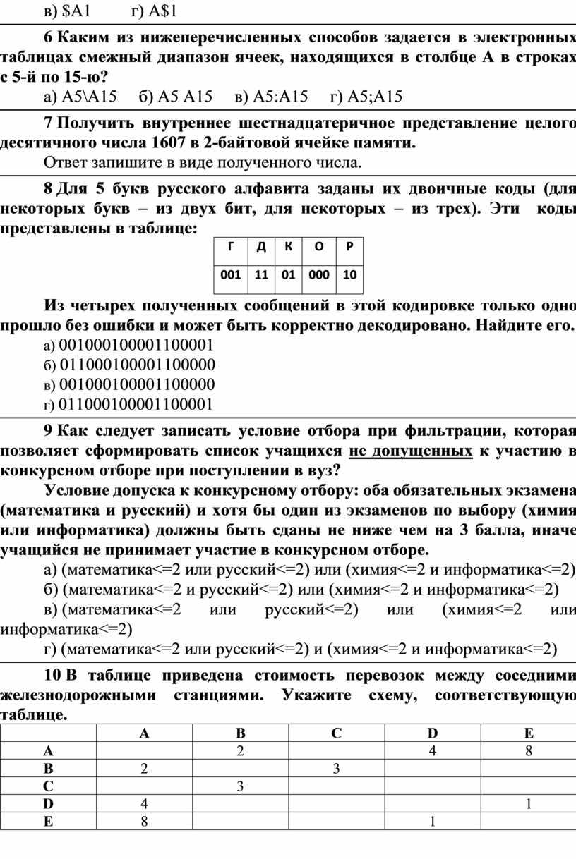 A1 г) A$1 6 Каким из нижеперечисленных способов задается в электронных таблицах смежный диапазон ячеек, находящихся в столбце