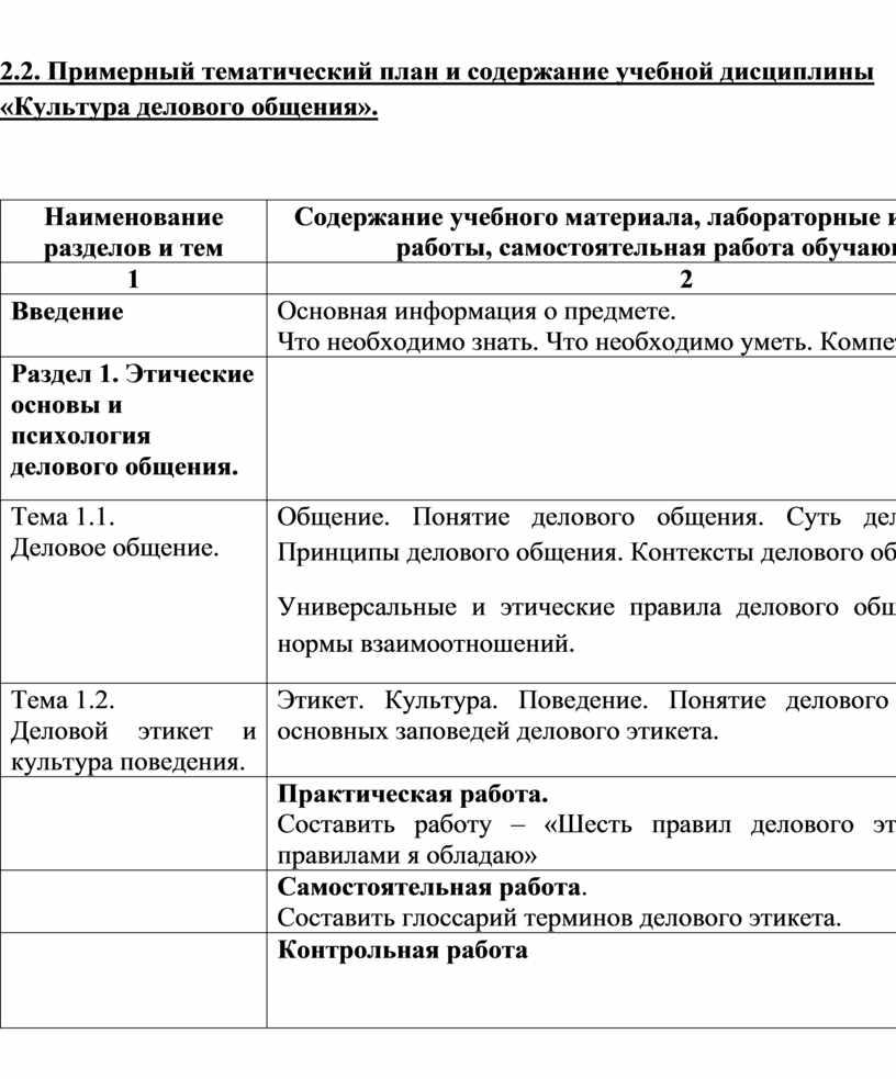 Примерный тематический план и содержание учебной дисциплины «