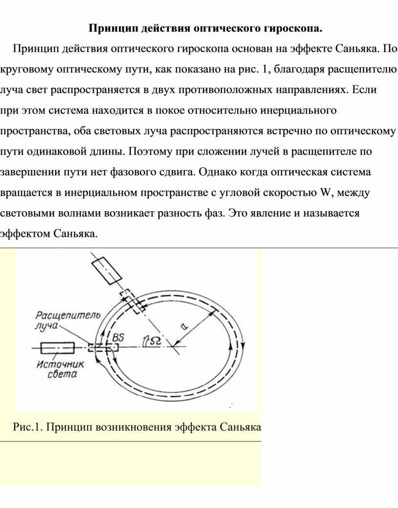 Принцип действия оптического гироскопа