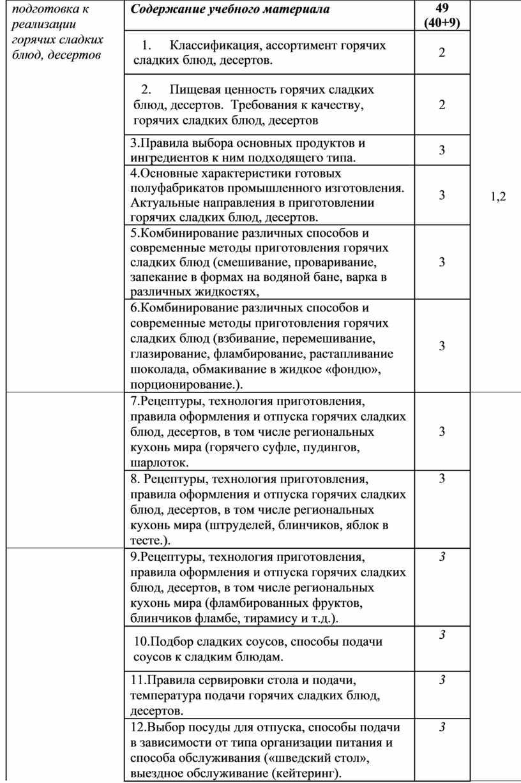 Содержание учебного материала 49 (40+9) 1,2 1