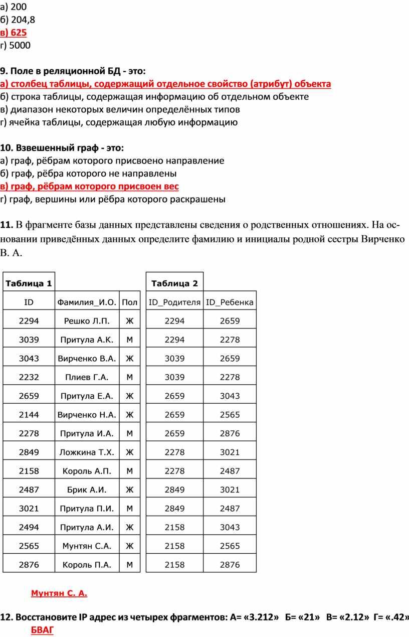 Поле в реляционной БД - это: а) столбец таблицы, содержащий отдельное свойство (атрибут) объекта б) строка таблицы, содержащая информацию об отдельном объекте в) диапазон некоторых…