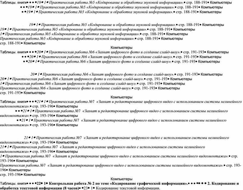 Таблицы. книги 191Практическая работа №5 «Кодирование и обработка звуковой информации»