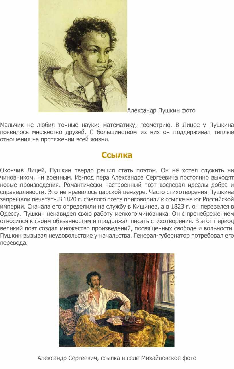 Александр Пушкин фото Мальчик не любил точные науки: математику, геометрию