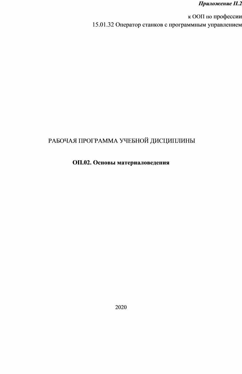 Приложение II .2 к ООП по профессии 15