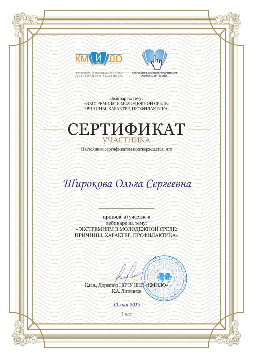 """Сертификат участника вебинара """"Экстремизм в молодежной среде: причины, характер, профилактика"""""""