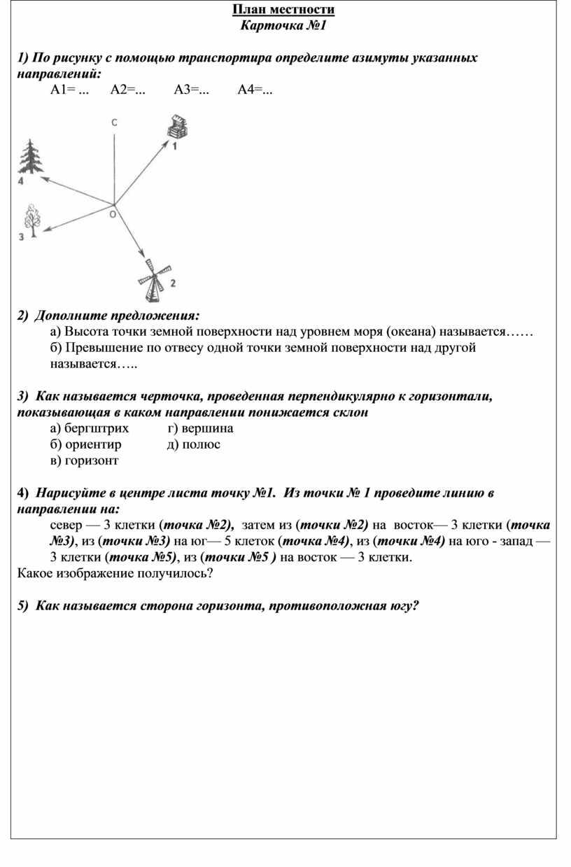 План местности Карточка №1 1)