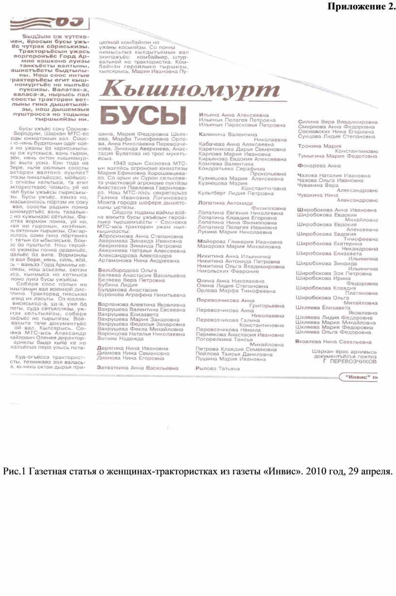 Приложение 2. Рис.1 Газетная статья о женщинах-трактористках из газеты «Инвис»