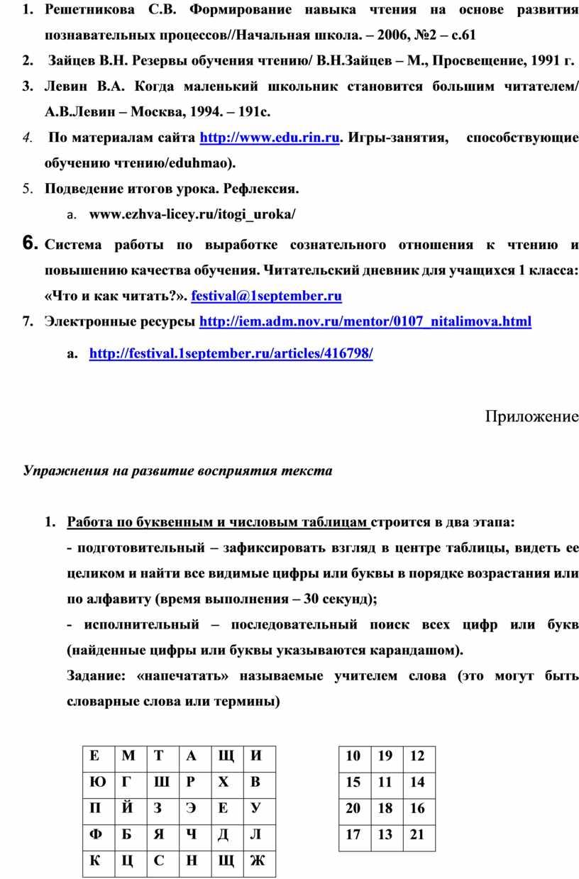 Решетникова С.В. Формирование навыка чтения на основе развития познавательных процессов//Начальная школа