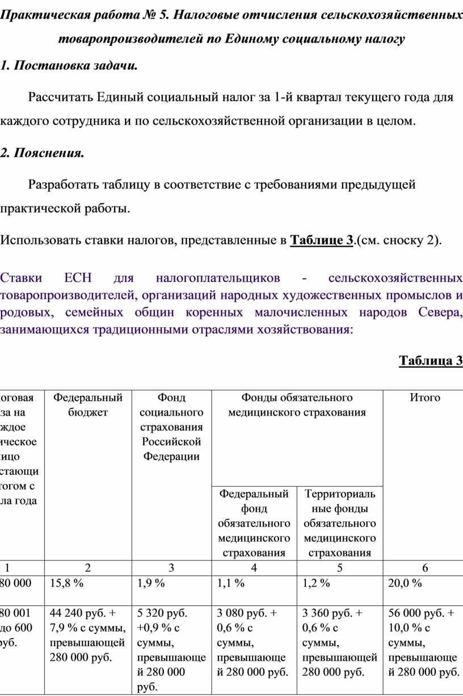 Практическая работа № 5. Налоговые отчисления сельскохозяйственных товаропроизводителей по