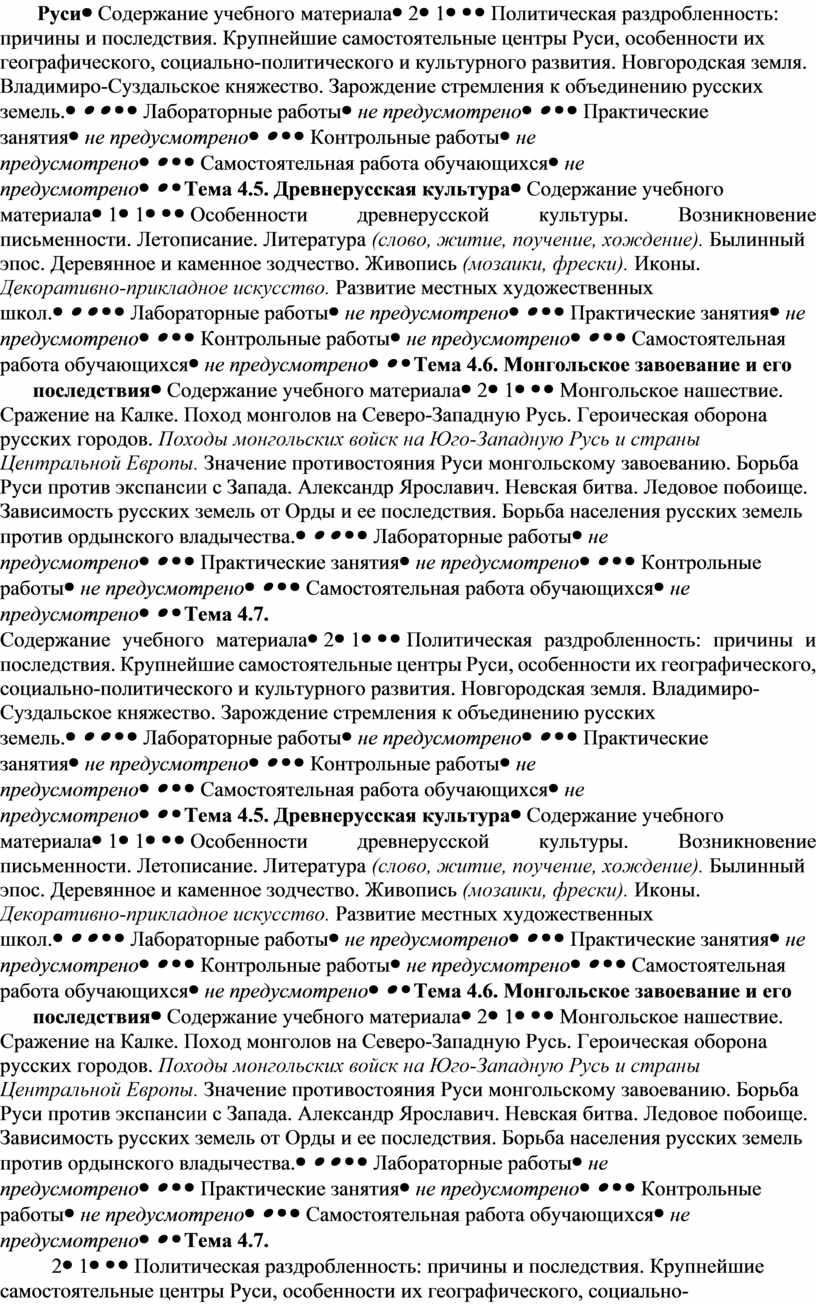 Руси Содержание учебного материала 21