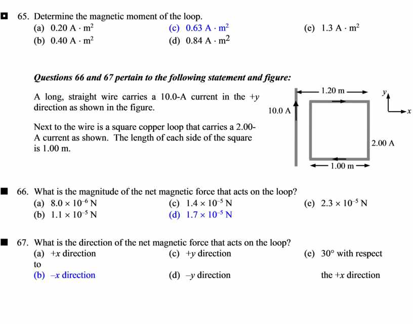 Determine the magnetic moment of the loop