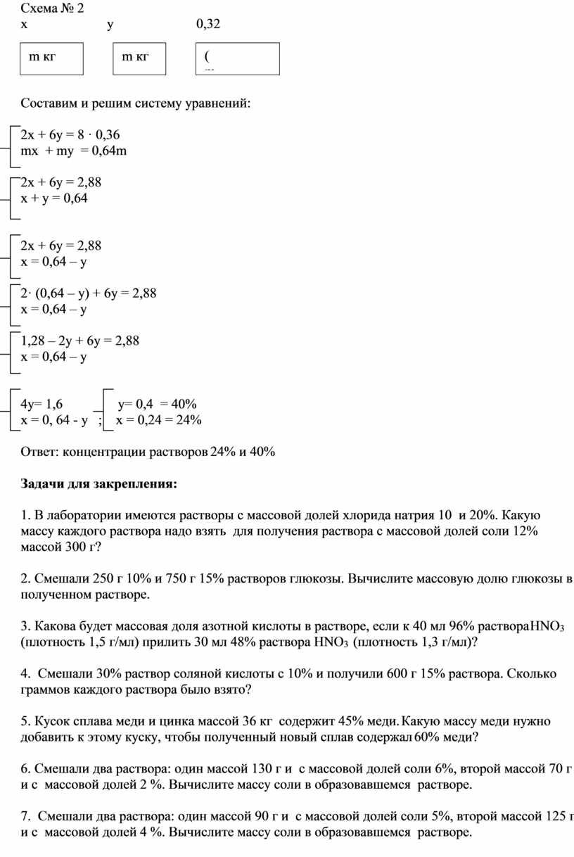 Схема № 2 m кг х у 0,32 m кг (m + m) кг + =
