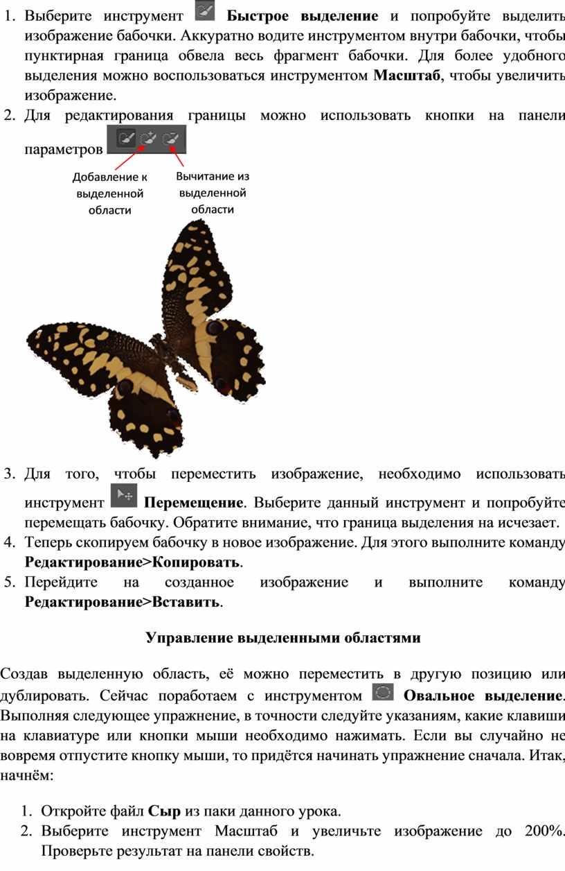 Выберите инструмент Быстрое выделение и попробуйте выделить изображение бабочки