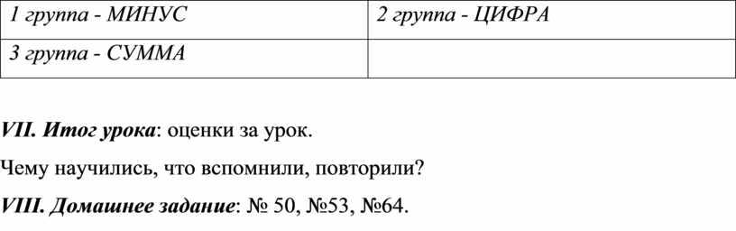 МИНУС 2 группа - ЦИФРА 3 группа -