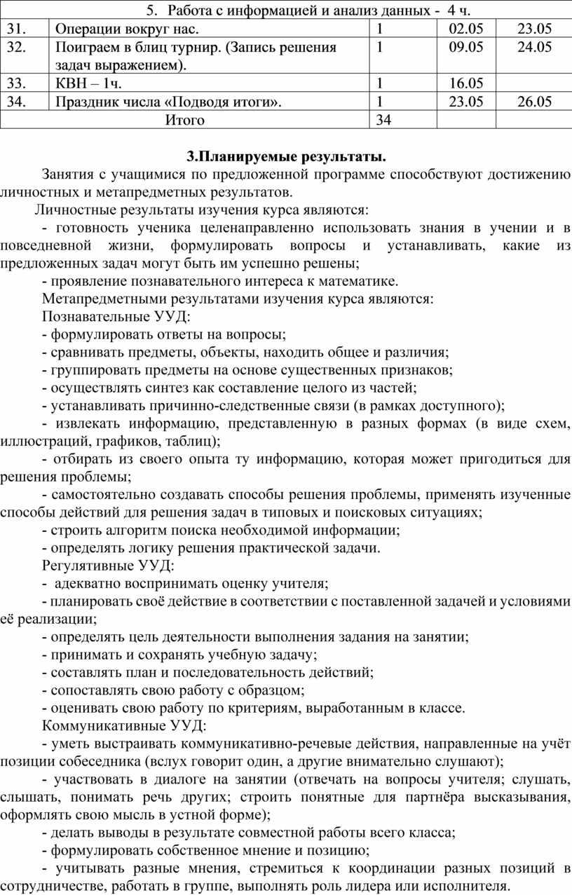 Работа с информацией и анализ данных - 4 ч