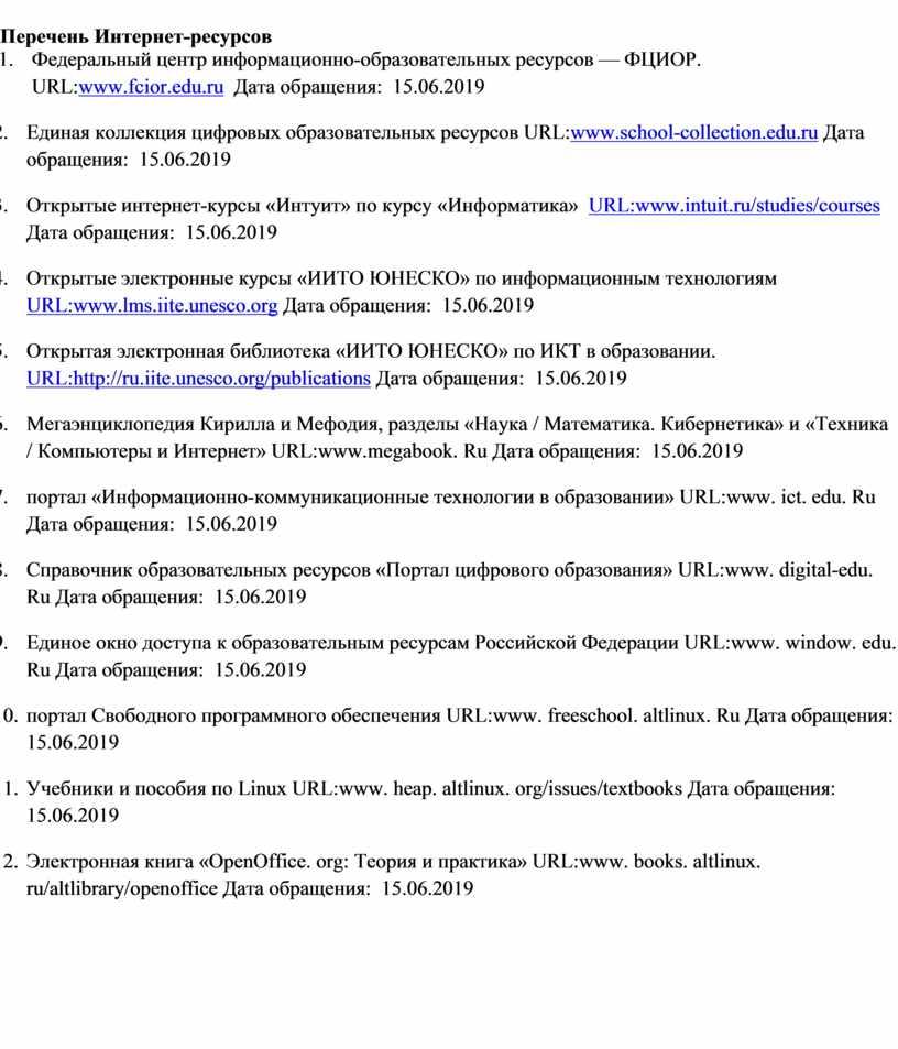Перечень Интернет-ресурсов 1