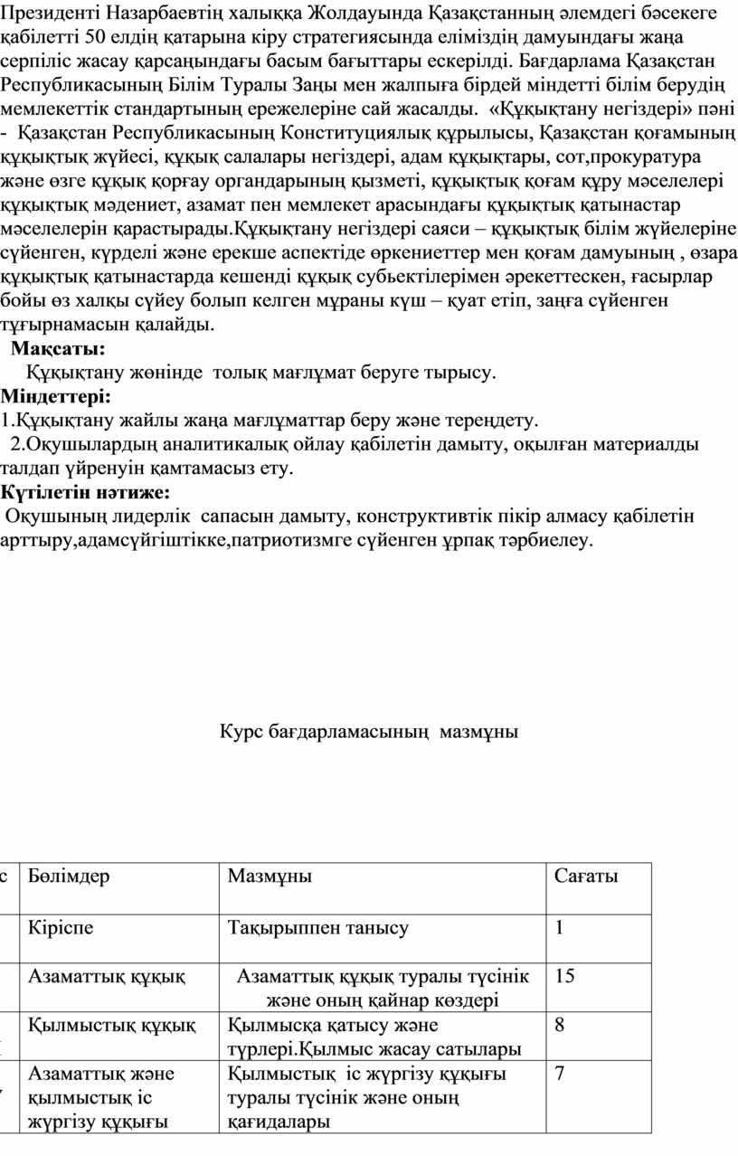Президенті Назарбаевтің халыққа