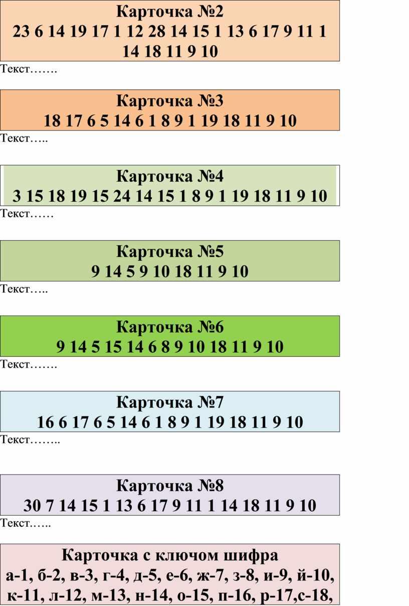 Карточка №2 23 6 14 19 17 1 12 28 14 15 1 13 6 17 9 11 1 14 18 11 9 10