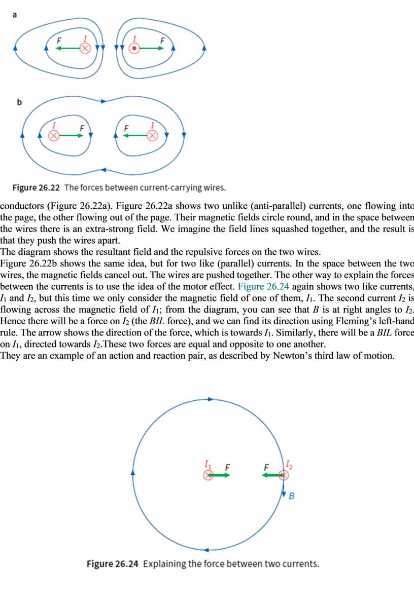 Figure 26.22a). Figure 26.22a shows two unlike (anti-parallel) currents, one flowing into the page, the other flowing out of the page