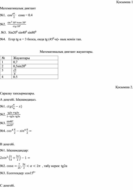 Математикалық диктант №1. cos 2 , cos α = 0