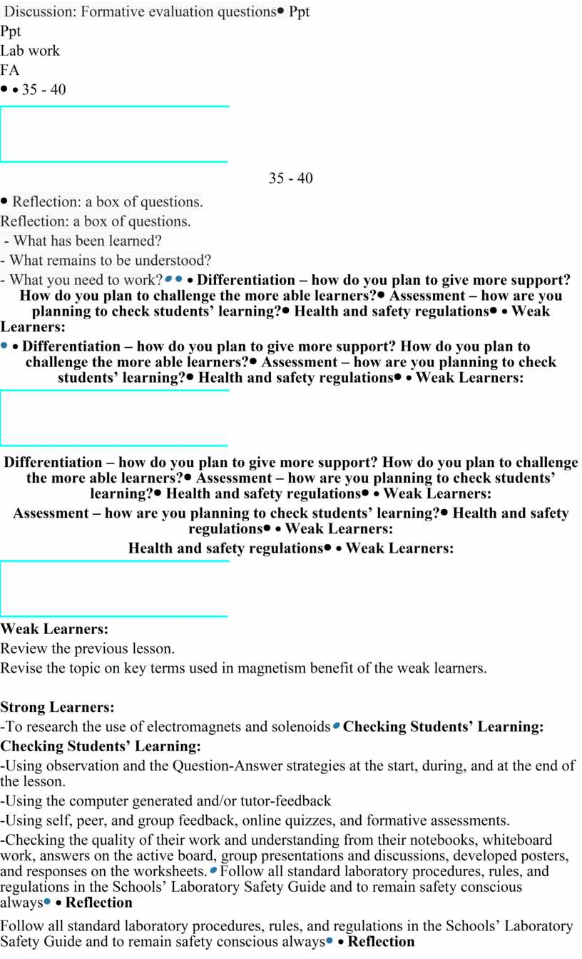 Discussion: Formative evaluation questions