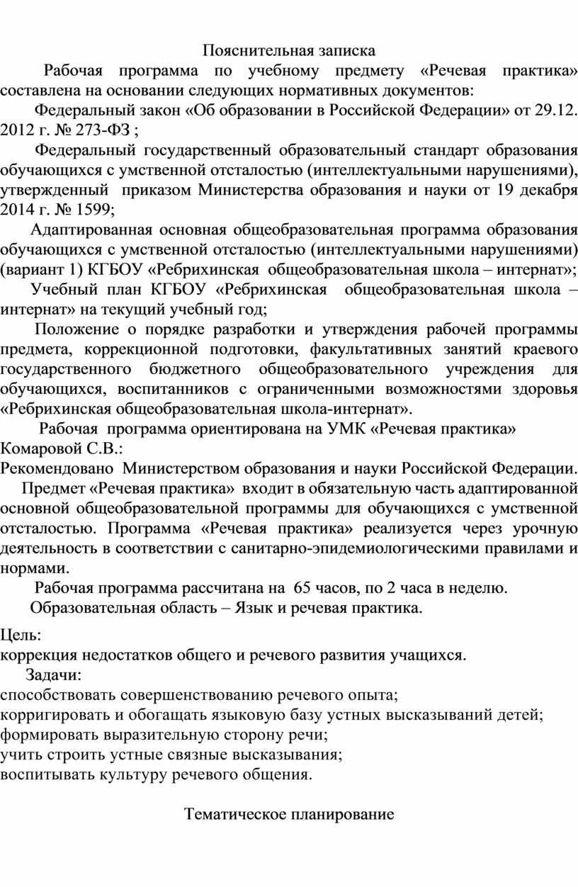 Пояснительная записка Рабочая программа по учебному предмету «Речевая практика» составлена на основании следующих нормативных документов: