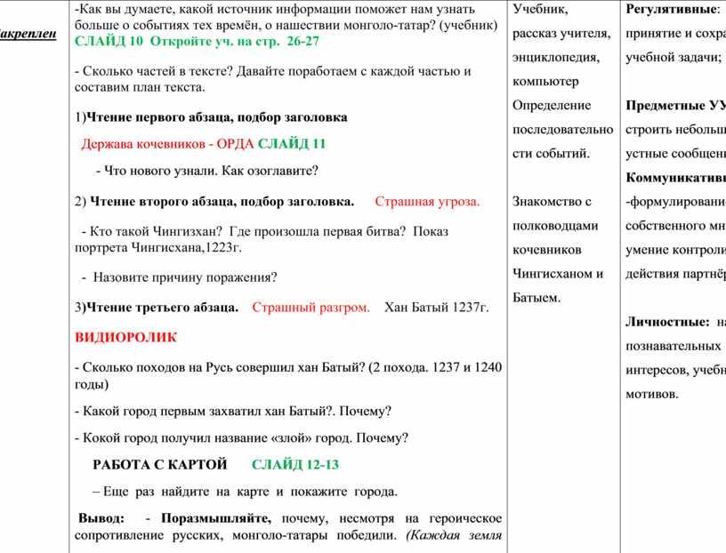 Закрепление -Как вы думаете, какой источник информации поможет нам узнать больше о событиях тех времён, о нашествии монголо-татар? (учебник)